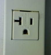 Electrical outlet which looks like a face