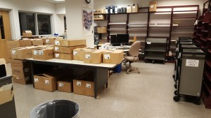 Everything is in place.  This bindery shipment is ready to be unpacked, checked, and sorted.
