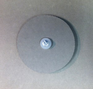 Two donuts, two plastic washers, and screw post. MDPI staff remove the screw and washers, put the disk in place, and replace the washers and screw on top. They have the option of putting one of the two donuts on top of the disk.