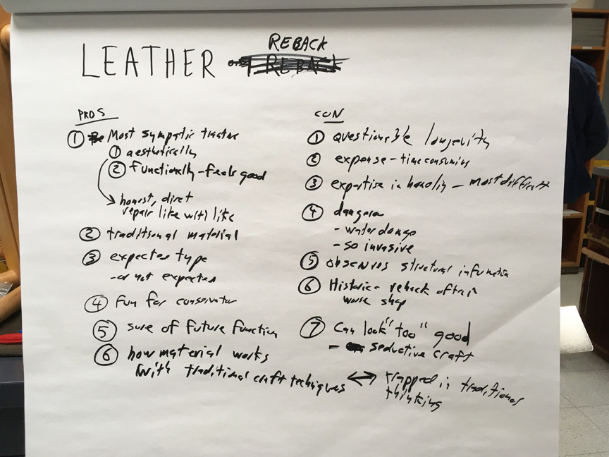 List of pros and cons of leather rebacking written on a large white pad of paper