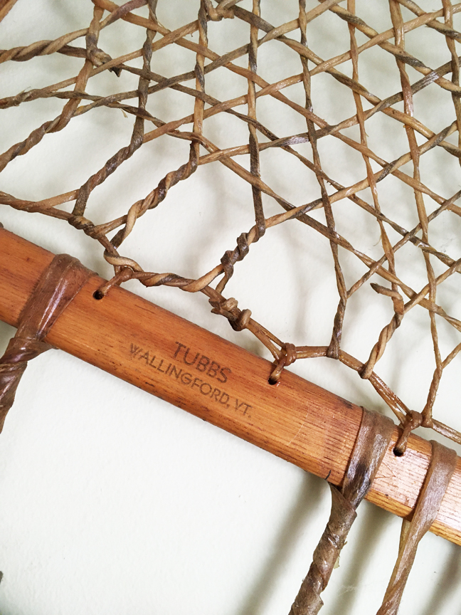Detail view of a 1940-s era snowshoe made by Tubbs of Vermont.