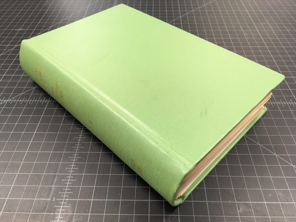 Buckram-covered book.