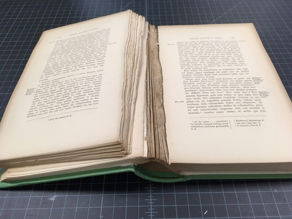 Book with brittle paper, pages have broken off from the binding at the inner margin.