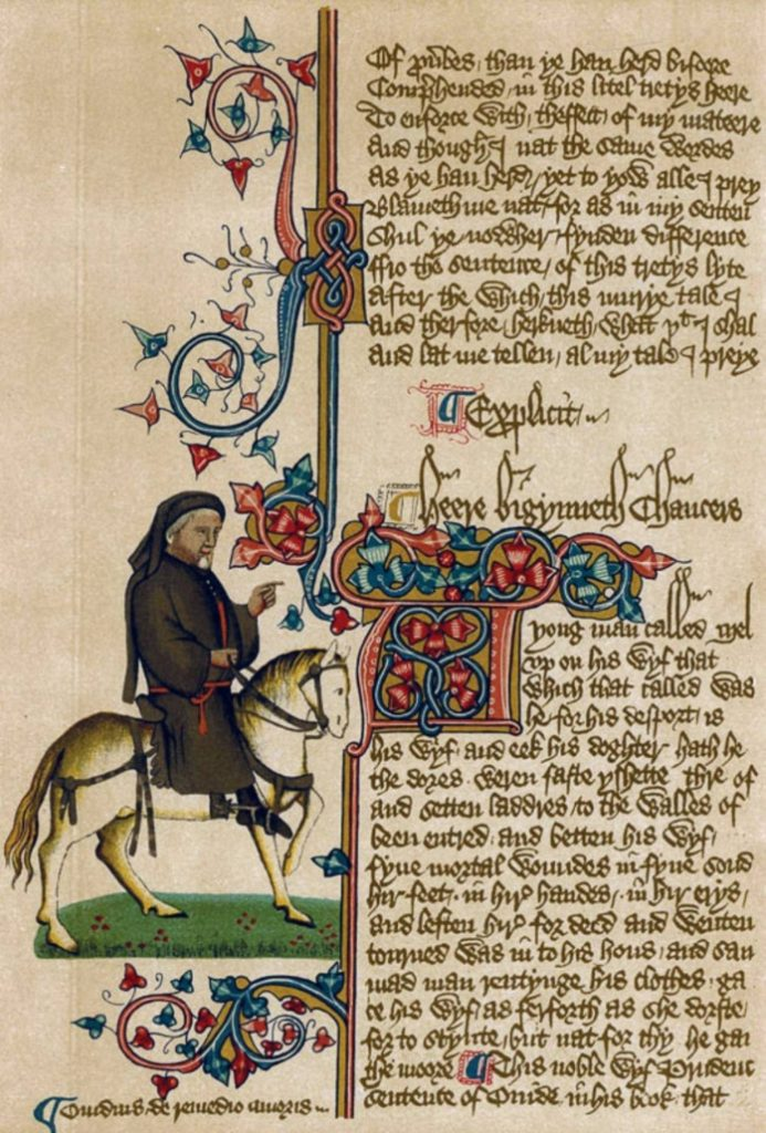 Portrait of Geoffrey Chaucer on horseback.
