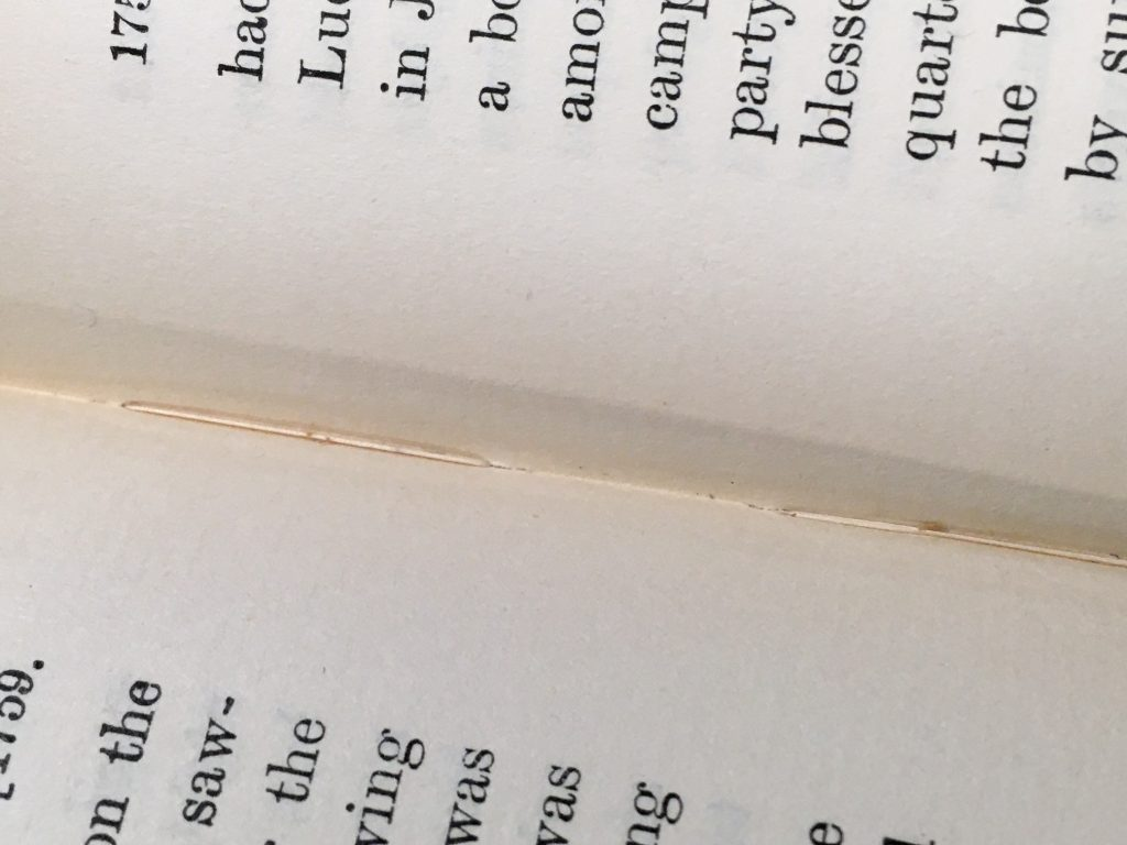 Stitches visible in the folds of a book sewn through the folds.