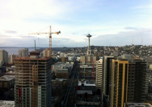 A view of Seattle from the conference hotel.
