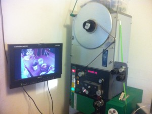A view of the A/V Geeks' Flashscan film scanner at work.