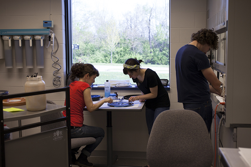 IU Libraries Film Archive staff cleaning mold in the Preservation Lab