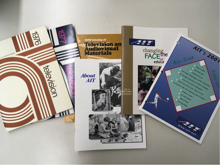 AIT's catalogue collection. Along with these catalogues are over one hundred boxes of paper materials from AIT's offices.