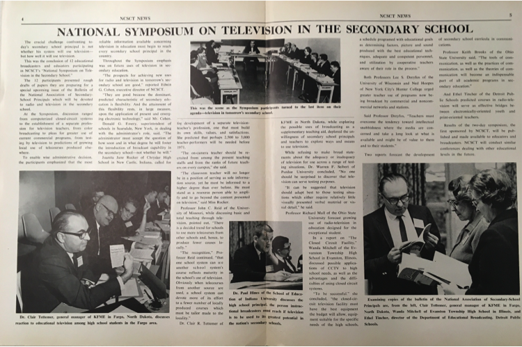 National Instructional Television Library newsletter detailing a symposium held at Indiana University in the 1960s.