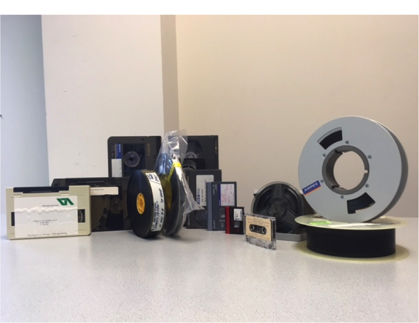 Decades of audio and video formats from AIT's collection, some of which are now being digitized by MDPI.