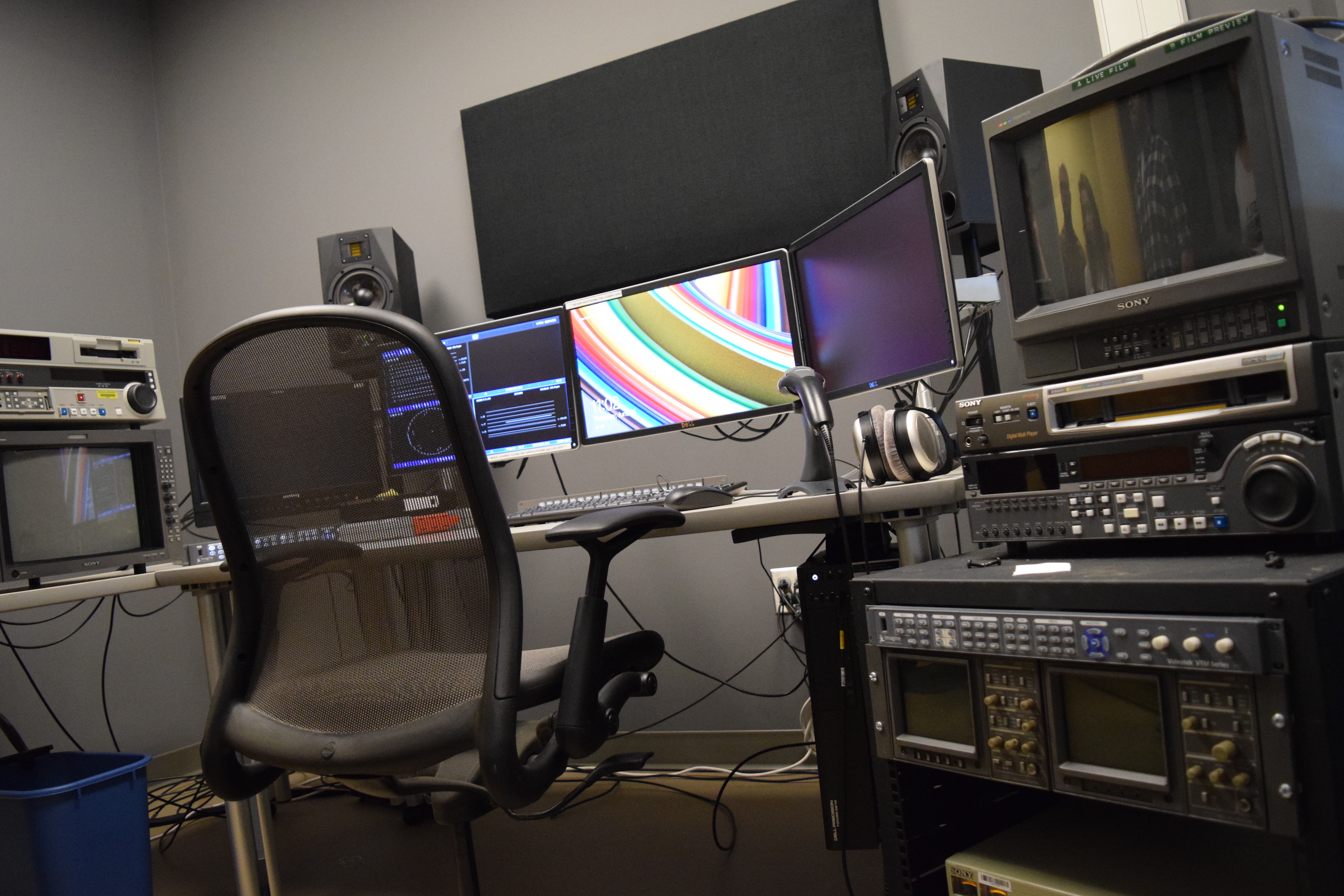 Digitization workstation with U-matic and DVCam decks.