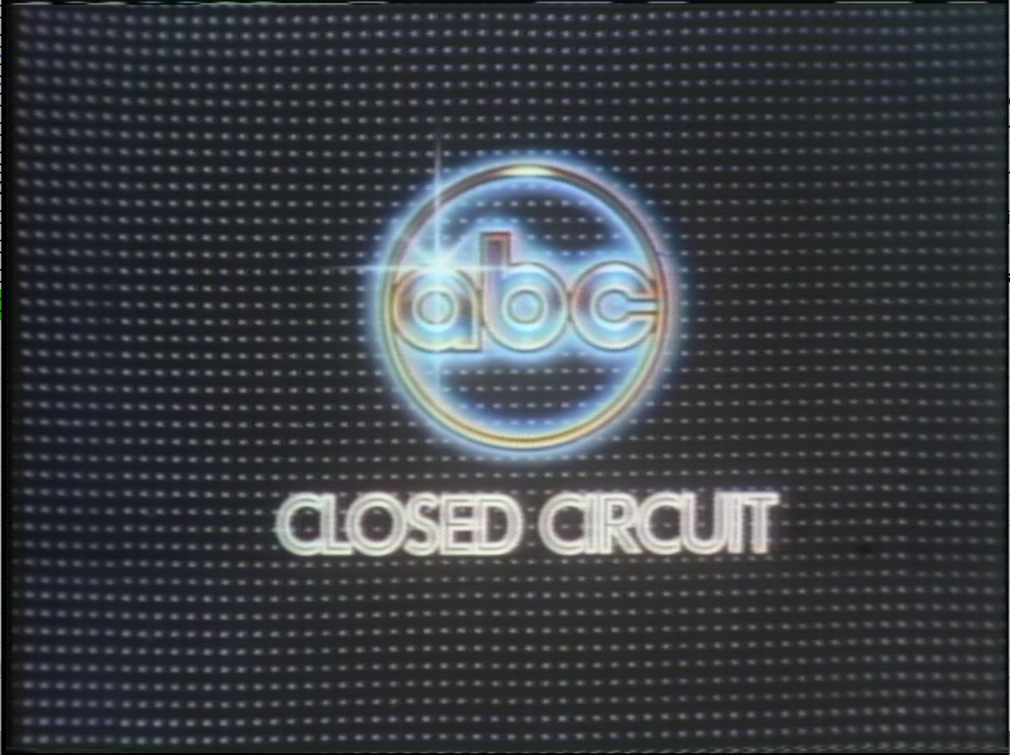 An example of a monitor image provided to WSJV by ABC. This image would have appeared on production studio monitors when they weren't playing other broadcast components (live reporting, sound bytes to be cued up, etc.). Image shows ABC logo on black screen.