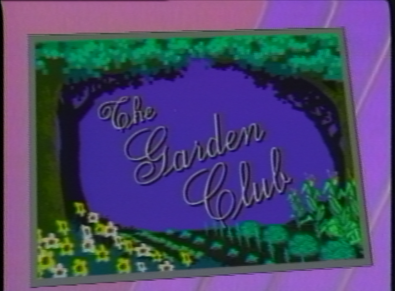 A screen grab of the opening animation for The Garden Club, a regular WSJV program featuring gardening advice with Mike Maloney. September 19, 1990.