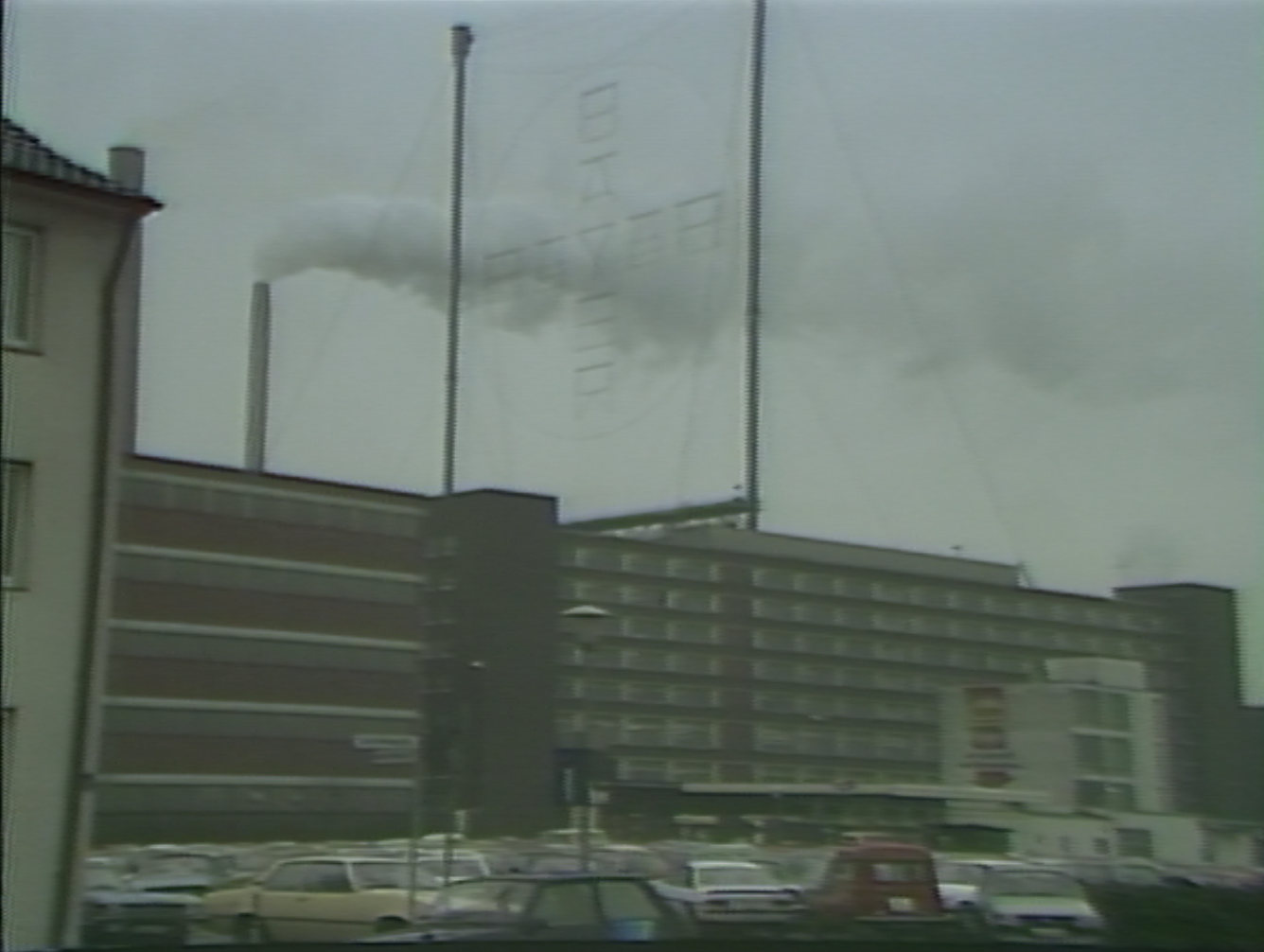 Screen grab of a WSJV segment about the Bayer Corporation plant in Elkhart, Indiana. July 1983.