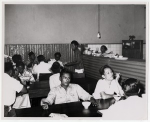 Students taking a break in the cafeteria at the National Institute of Administration.