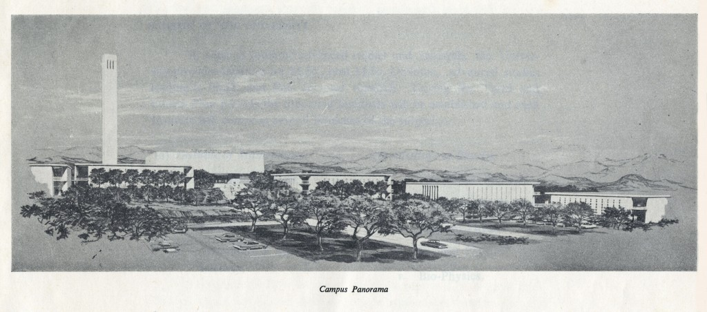 Panoramic image of the University of Islamabad campus from a 1967 booklet about the university.