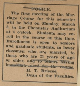 Undated IDS announcement regarding Marriage Course from Herman T. Briscoe's files -- presumably, with his edits.