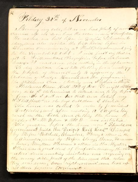 Excerpt from the diary that mentions the Philomathean Society.
