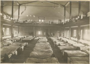 Hospital beds were set up in the old Assembly Hall to combat the influenza epidemic
