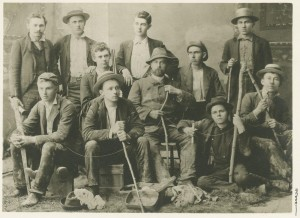 Cavers, 1890 ((Front Row, L to R) Walter S. Chambers; Howard J. Hall; Raymond C. Morgan is seated behind Hall and has a rifle barrel next to his head; Professor of Romance Languages and Philology Gustaf Karsten; Russell Ratliff with arm on Karsten's leg; and Mark P. Helm. (Back Row, L to R) Walker (this is probably Orie Walker); Samuel M. Knoop; William Alonzo Marlow, Theodore Dreiser (seated), and Francis Elmer Kinsey)
