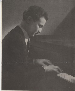 A young Menahem Pressler playing piano