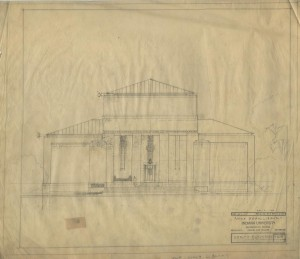 Architectural drawing of north elevation of the Lilly Library, circa 1955