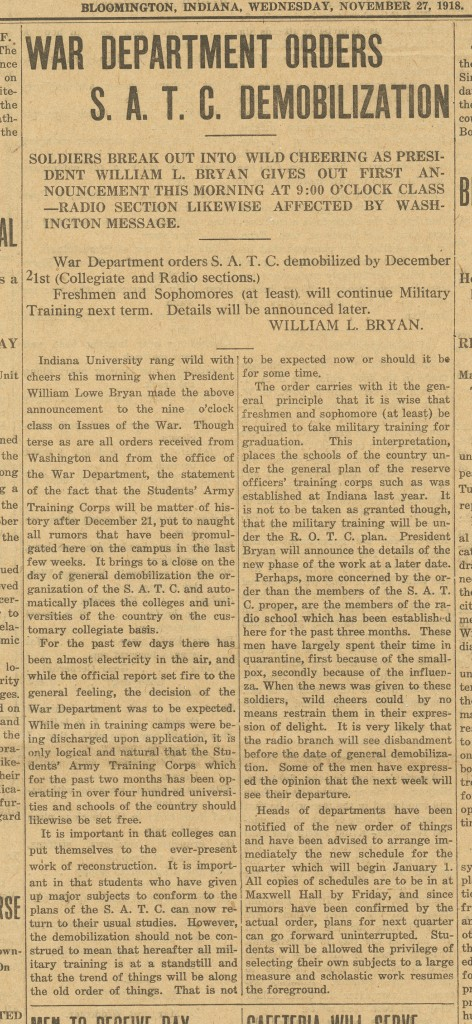 Indiana Daily Student article announcing demobilization.