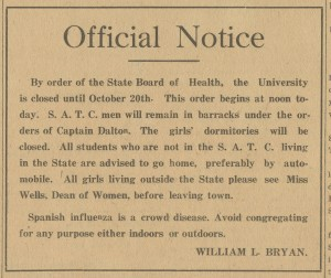 Notice printed in the Indiana Daily Student.