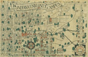 This campus map from 1930 shows the results of the War Memorial Fund.