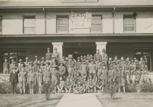 An IU fraternity house repurposed as a barracks in 1918.