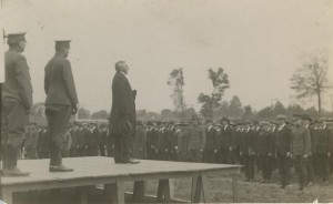 President Bryan speaks to WWI recruits during induction ceremony.