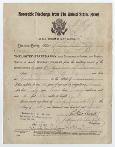 Honorable Discharge Papers, February 15, 1919.