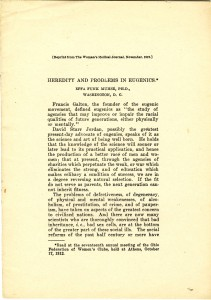 """Effa Funk Muhse, """"Heredity and Problems in Eugenics"""" 1912"""