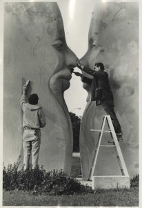 The finishing touches are added to sculpture, which today sits at the north end of Miller-Showers Park in Bloomington.