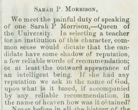 Sarah Parke Morrison was none too popular with IU students.