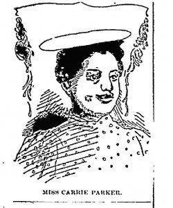 Drawing of Carrie Parker from Indianapolis Freeman, June 5, 1897.