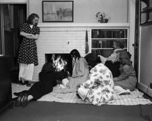 In this photo from 1948, undergraduate students toast marshmallows at the Practice House.