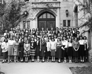 Residents of Sycamore Hall. Joan is 4th row, 8th from left. This image appears on page 366 of the 1948 Arbutus yearbook.