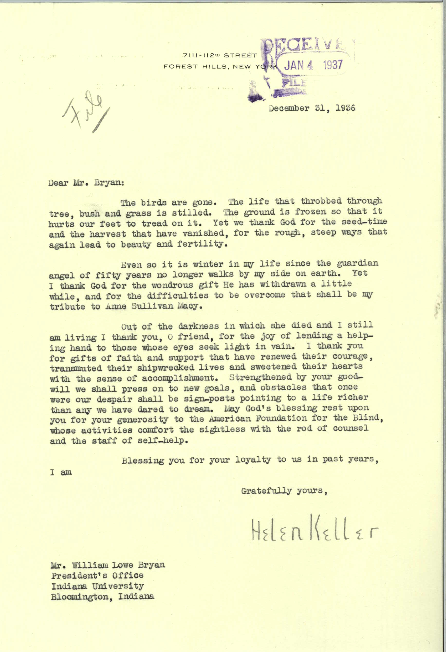 Helen Keller to William Lowe Bryan, December 31, 1936