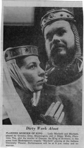 Indiana University Theatre's production of Macbeth. December, 1965.