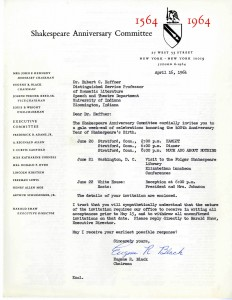 Letter to Hubert Heffner from the Shakespeare Anniversary Committee, inviting Heffner to a 400th Anniversary gala weekend. April 16, 1964.