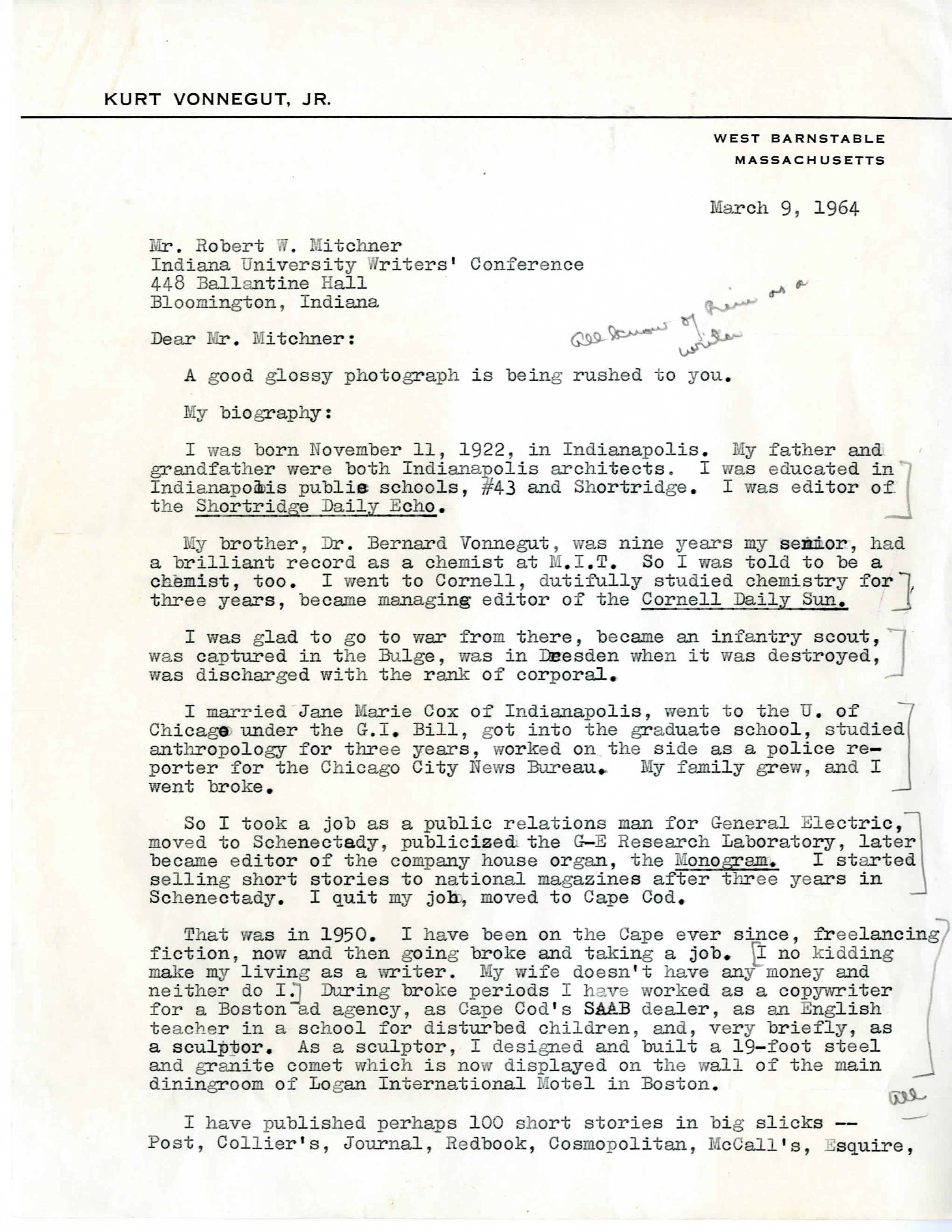 1960s na university archives mitchner also writes to vonnegut asking if a 10 30 am slot would be acceptable for his short story workshop as well as if vonnegut would a chapter