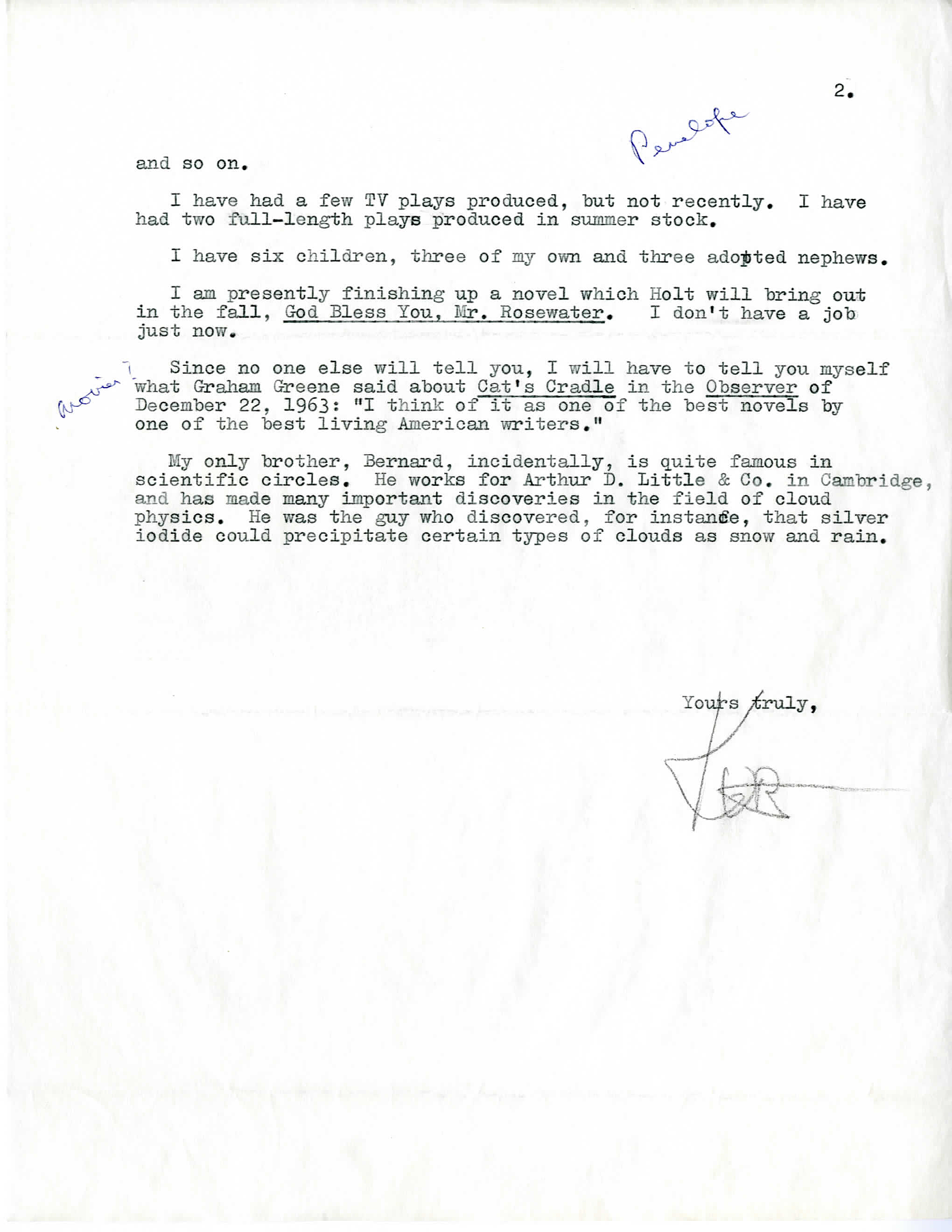 Sincerely Yours – Letters from the Archives: Kurt Vonnegut, Jr