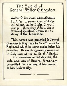 Display card for General Gresham's sword