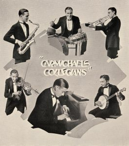 "Carmichael's Collegians. This image scanned from page 117 of the 1924 Arbutus yearbook. (Clockwise starting at bottom with Carmichael at piano) Howard Hoagland ""Hoagy"" Carmichael, Unknown, Howard Warren ""Wad"" Allen, Unknown, Unknown, Unknown."
