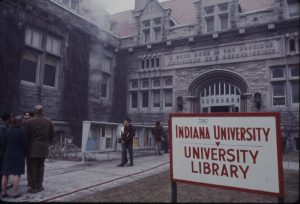 The aftermath of one of the arson attacks on the IU Graduate Library, 1969.