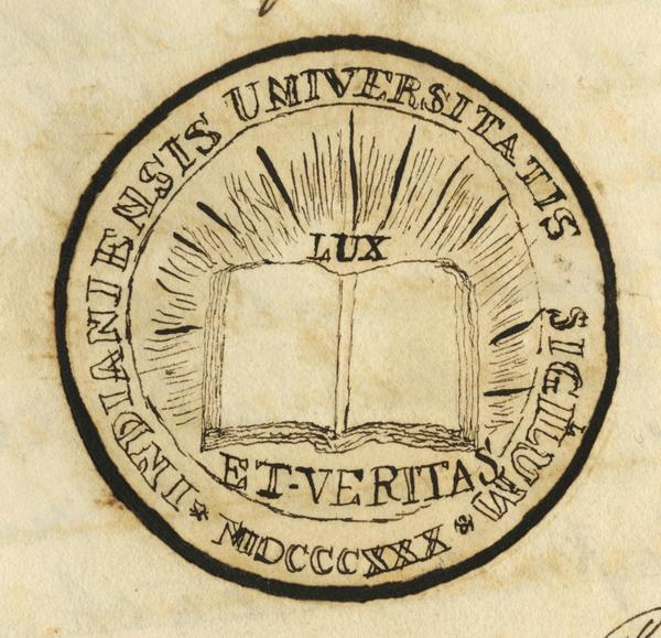 First rendering of the Indiana University seal. It appears on page 97 of the July 21, 1841 manuscript minutes of the Board of Trustees.