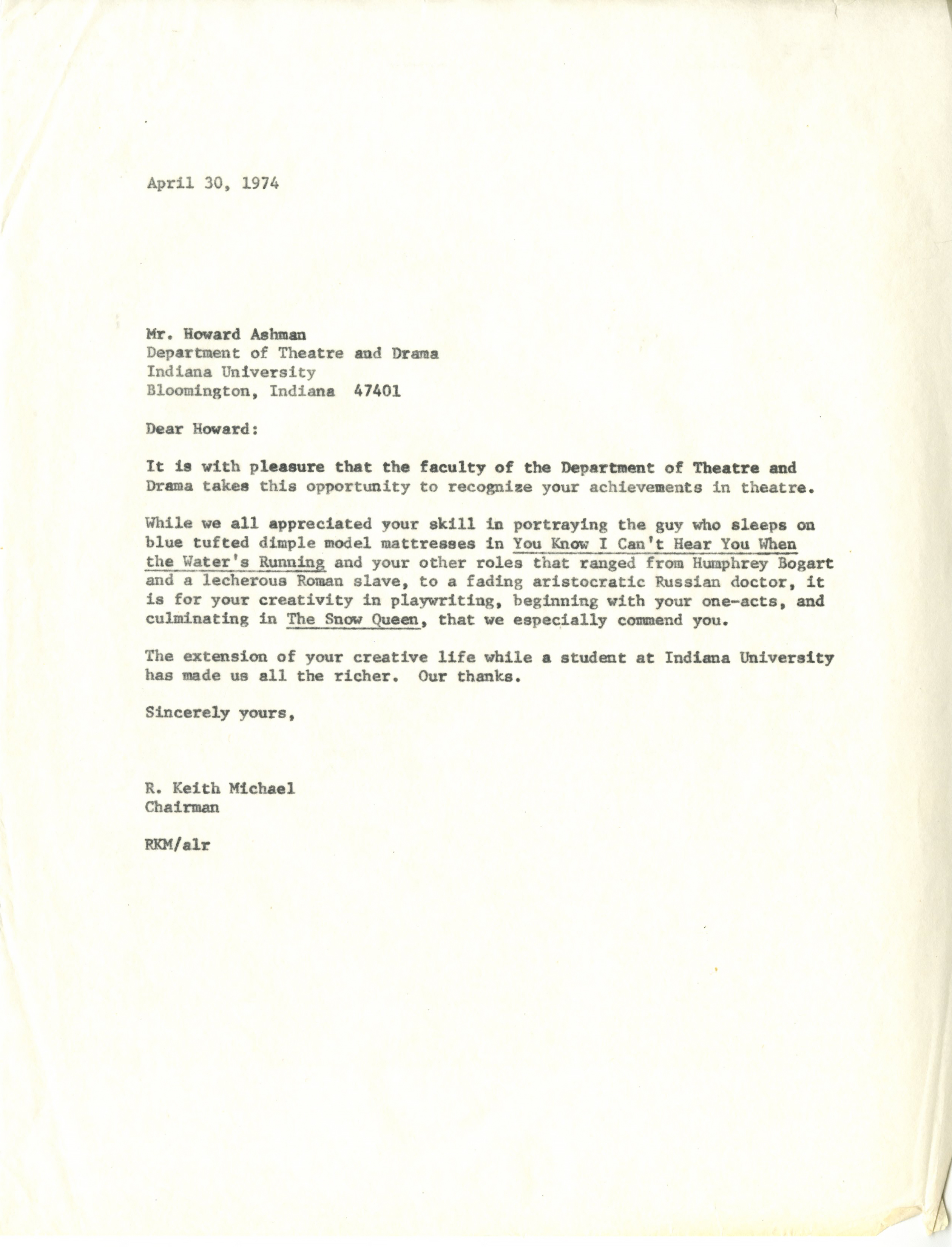 Sincerely yours page 2 blogging hoosier history sincerely yours howard ashman making iu part of his world spiritdancerdesigns Choice Image