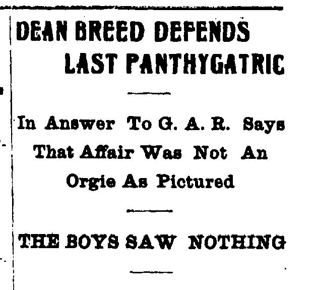 IDS headline: Dean Breed Defends Last Panthygatric. April 19, 1906